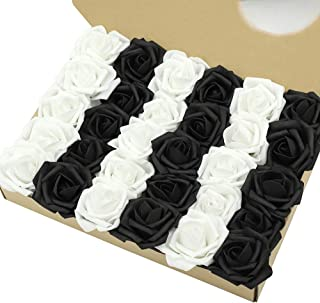 Marry Acting Artificial Flower Rose, 30pcs Real Touch Artificial Roses for DIY Bouquets Wedding Party Baby Shower Home Decor … (15pcs Black + 15pcs White)
