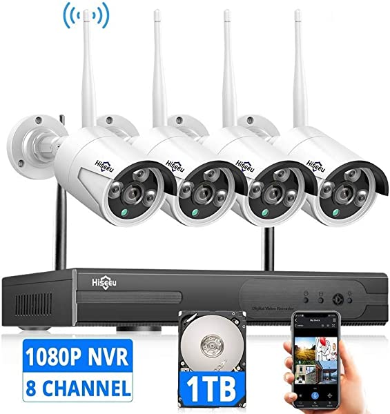 Expandable 8CH Wireless Security Camera System With 1TB Hard Drive With Audio Hiseeu 8 Channel NVR 4Pcs 1080P 2 0MP Night Vision WIFI IP Security Surveillance Cameras Home Outdoor Easy Remote View