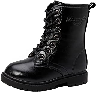 PPXID Boy's Girl's Waterproof Lace-Up Side Zipper Mid Calf Combat Boots Shoes