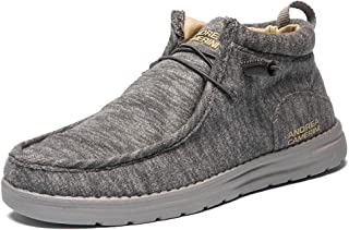ANDREA CAMERINI Men's High Top Loafers Slip on Sneakers Casual Canvas Shoes Comfort Lightweight Deck Shoes Fashion Boat Sh...