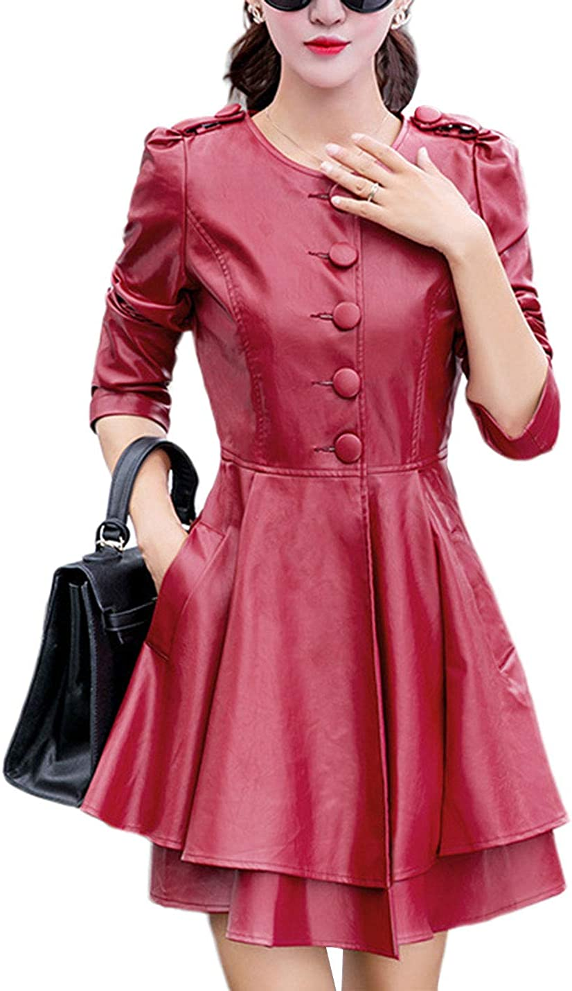 Omoone Women's Crewneck Vintage Slim PU Leather Trench Coat A Line Mini Dress