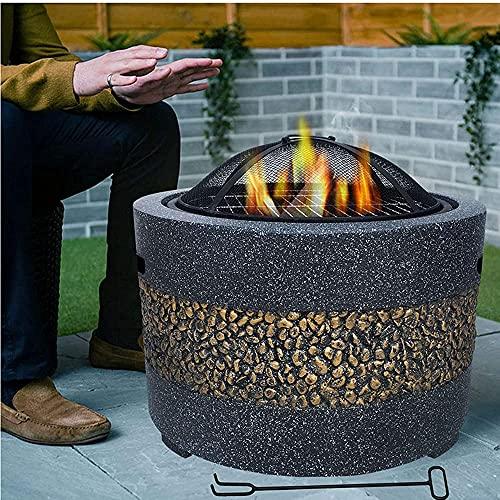 Mesa redonda para fogatas,calentador de patio con tapa,brasero para barbacoa al aire libre,estufa de piedra artificial,con pantalla de malla,gancho de elevación,chimenea para terraza de jardín