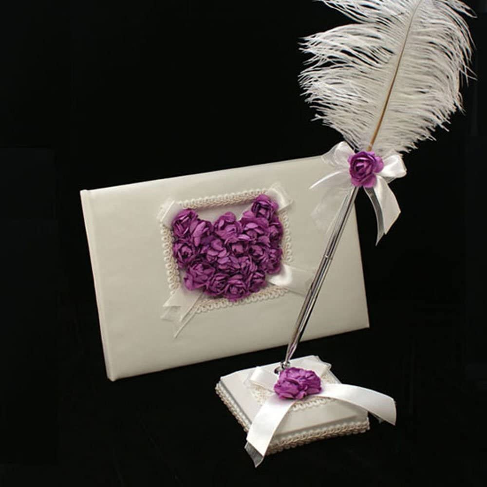 KateMelon Lilac Cheap SALE OFFicial store Start Heart Wedding Guest Pen and Set Book Feather