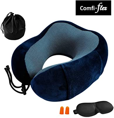 Travel Pillow by COMFI-FLEX Pure Memory Foam Neck Pillow, New Design, Gadget Friendly, Comfortable & Flexible, Machine Washable, with 3D Sleep Masks, Earplugs and Carry Bag, for Airplane Travel