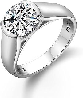 CivetCat 2ct 8mm D color Moissanite Solitaire Engagement Ring For Women Platinum Plated 925 Sterling Silver Half Bezel Set...
