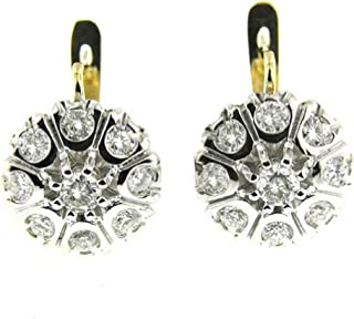 2.60 Ct Yellow & White Gold Russian Style Diamond Earrings 14kt