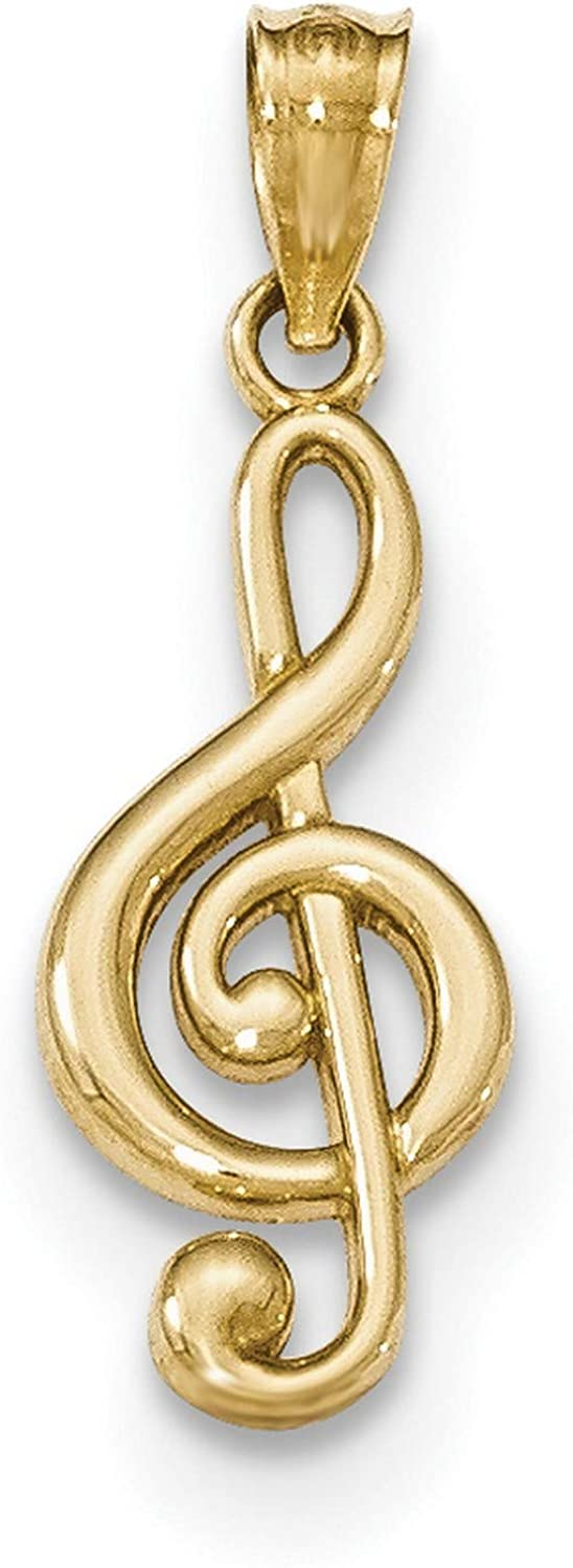 Classic 14k Yellow Gold Polished Ranking TOP20 Solid Treble 26 Music Clef Pendant Sign