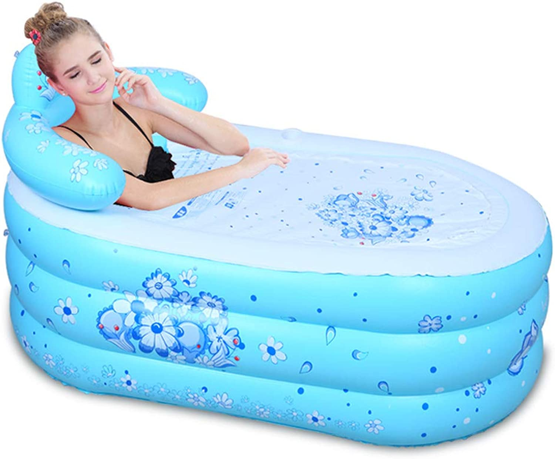Adult Inflatable Bathtub -bluee Household Folding PVC Soaking Bathtub Thick Plastic Bucket Configuration Electric Pump (Size   130×75×70cm)