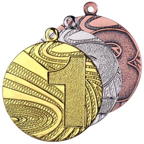 10 Stück Medaillenset Gold / Silber / Bronze aus Stahl, 40mm Durchmesser und 2 mm Höhe. Schwere Ausführung in guter Qualität. Passend dazu finden Sie in unserem Shop verschiedenfarbige Bänder zur Selbstmontage.