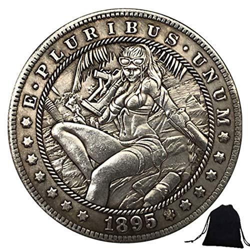 DDTing 1895 Kreative geschnitzte lustige Hobo-Münze – Sonnenbrille Mädchen Nickel-Münze US alte Münzen + KaiKBax Tasche – Morgan Dollars Münze – Bestes Geschenk für Ehemann/Paar goodService