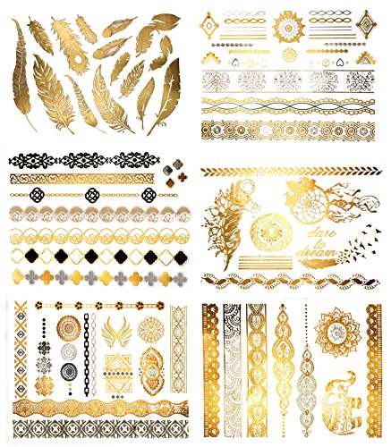 Terra Tattoos Temporary Metallic Tattoos - 75 Fake Gold Tattoos
