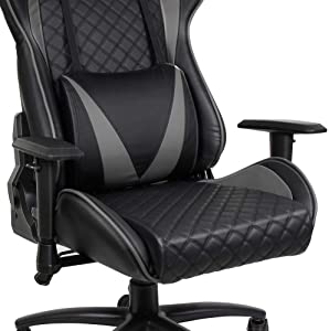 ALEXTREME Gaming Chair, Ergonomic Computer Gaming Chair Racing High Back PU Leather Adjustable Angle with Headrest Lumbar Support, Office Chair, Computer Desk Chair (Grey/Blue)