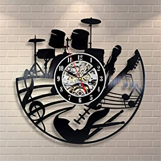 Guitar and Drums Vinyl Record Wall Clock Contemporary Music Fan Art Design Get Unique Living Room Wall Decor Gift Ideas fo...