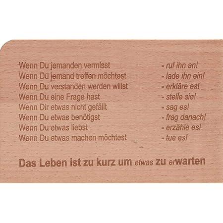 """Holzpostkarte /""""Das Leben ist zu kurz um etwas zu erwarten/"""""""
