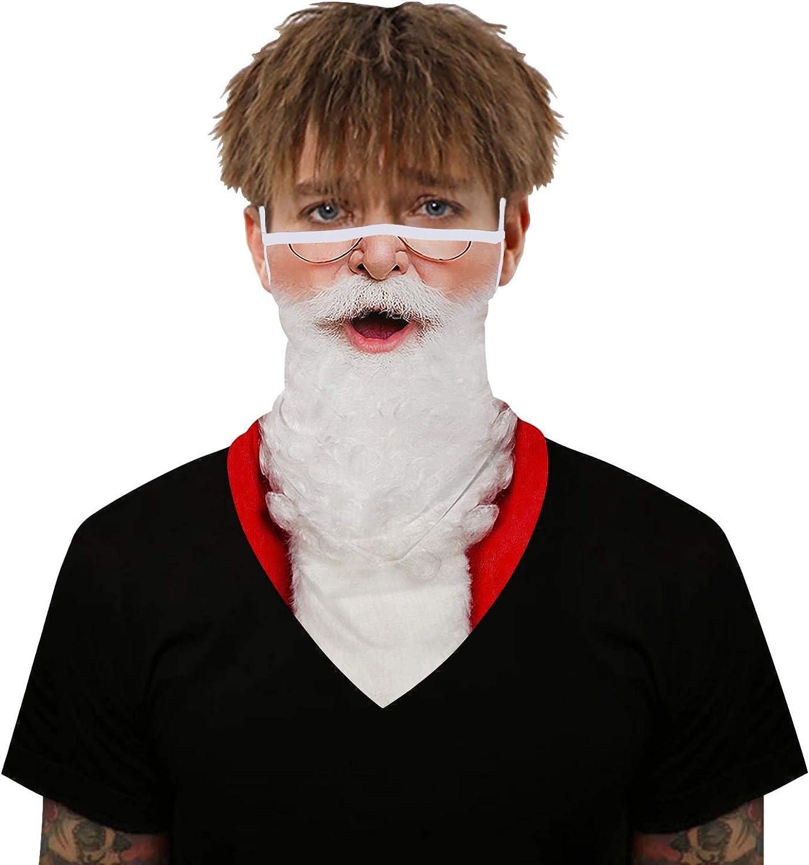 Qyeaber Neck Gaiter Bandana Face Mask Reusable Washable Cloth Ear Loops Men Women Balaclava Sun Dust Wind Man Woman (Santa Claus)