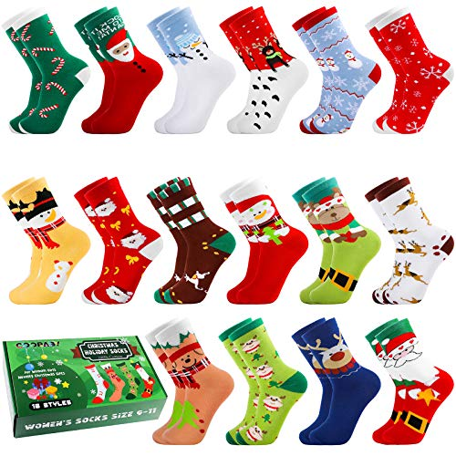 Cooraby 16 Pairs Creative Women's Christmas Cotton Socks Knit Crew Xmas Socks with Gift Box