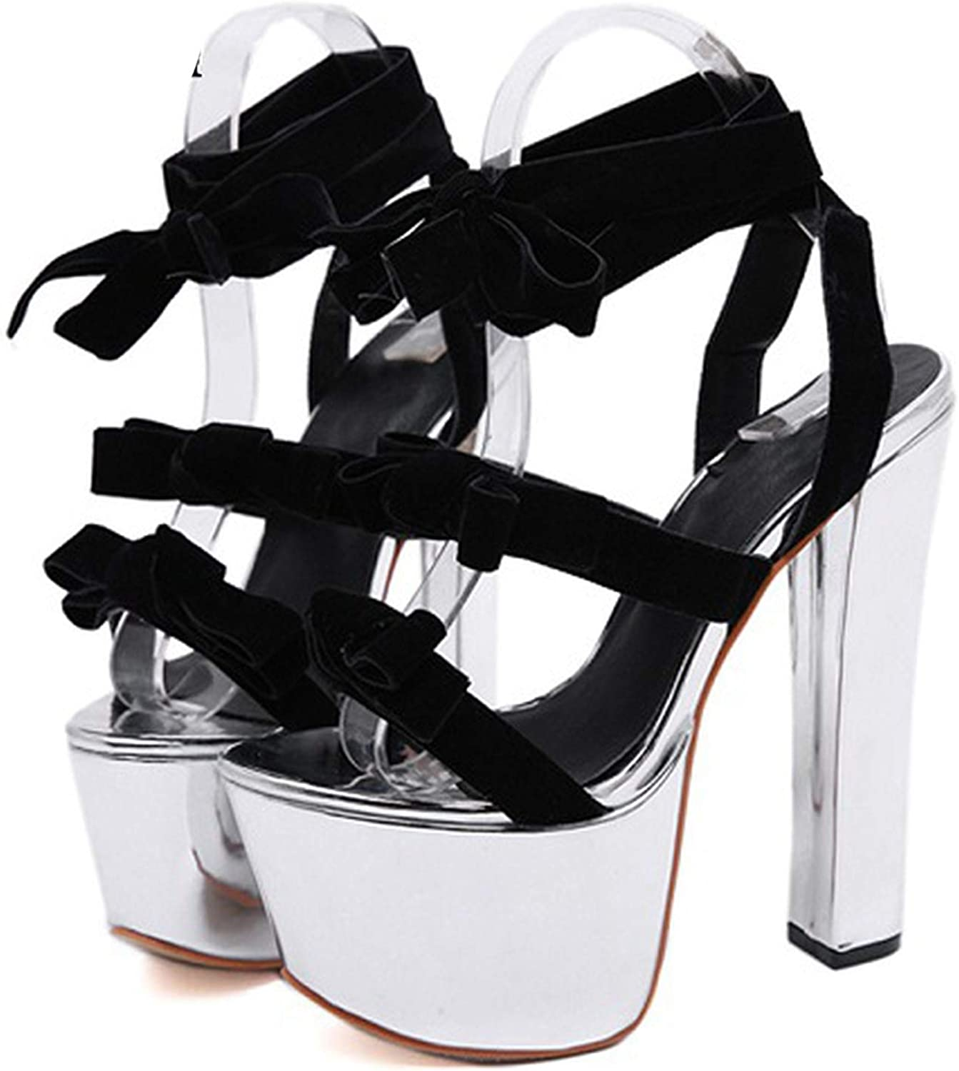 HuangKang Sexy Silver Sandals Platform 2019 New Summer Females Extreme High Heels Lace-Up Wedding Dress shoes Ladies