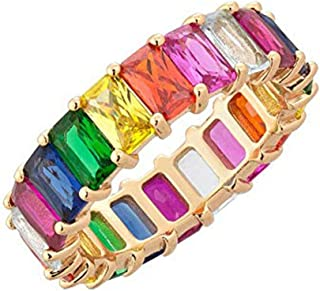 Gold Filled Fashion Jewelry Rainbow Square Baguette cz Engagement Ring for Women Colorful Cubic Zirconia cz Eternity Band Ring (Gold, 7)