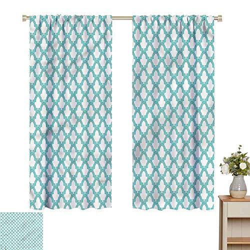 Wear Pole Curtains Window Decoration Curtain Morroccan Tiles Decorative Shading Set of 2 Panels W72 x L62