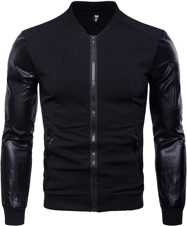 FORUU Zipper Jacket for Men Slim Leather Motorcycle Jackets Sleeve Patchwork Short British Stand Collar Jacket Coat