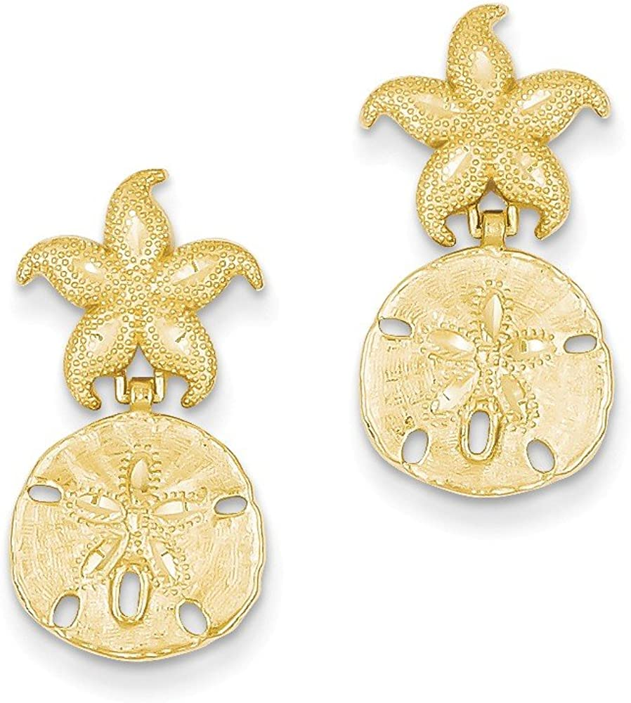 14k Yellow Gold Diamond-Cut Nautical Post Dangle Earrings