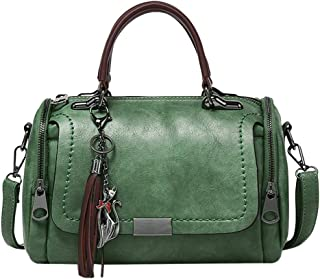 Wultia - Women's High-Volume PU Leather Solid Color Fashion Tassel Cross Shoulder Bag Handbag Bolsa Feminina Green