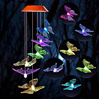 Wind Chime,solar lights chimes,butterfly wind chimes led/solar hummingbird wind chime Outdoor decor,yard decorations solar light mobile,memorial wind chimes,(gifts for mom,birthday gifts for mom