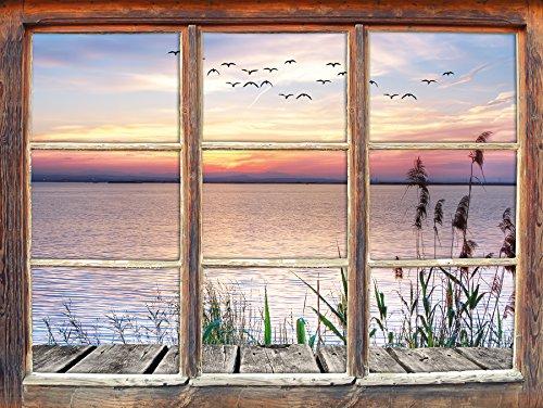 Steg mit Ausblick aufs Meer Fenster 3D-Wandsticker Format: 92x62cm Wanddekoration 3D-Wandaufkleber Wandtattoo