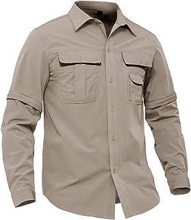 EKLENTSON Men's Quick Dry Hiking Shirt Convertible Long Sleeve Work Shirt Inner Mesh