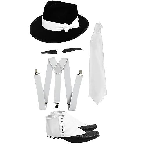 47af90c2b91 GANGSTER SET FANCY DRESS ACCESSORY COSTUME KIT WHITE BRACES + WHITE TIE +  SPIV TASH +