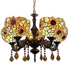 Zonnebloem Tiffany stijl kroonluchter 5 lichten E27 glas-in-lood kunst hanglamp retro klassieke decoratieve plafondlamp Go...