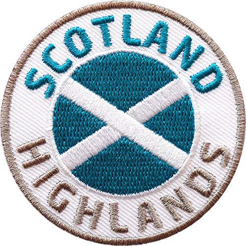 Club of Heroes 2 x Scotland Highlands Abzeichen 60 mm gestickt/Schottland Aufnäher Aufbügler Sticker Wappen Patches für Kleidung Rucksack/Reiseführer Abenteuer Flagge Fahne Land