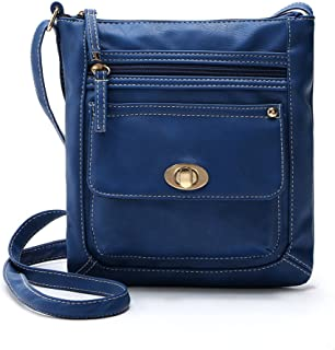 LEKODE Women Lightweight Small Solid Leather Crossbody Bag