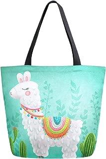 ZzWwR Cute Boho Llama Cactus Large Canvas Shoulder Tote Top Handle Bag for Gym Beach Travel Shopping