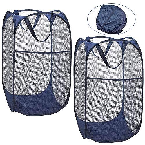 RMENOOR 2 Stück Wäschekorb Pop Up Schmutziger Korb Wäschesammler Faltbar Wäschebox Wäschesack Mesh Basket Wäschebehälter mit Tragegriffen für Kleidung Spielzeug Schlafzimmer Wäscherei