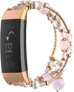 Simpeak Band Compatible with Fitbit Charge 3, Jewelry Bracelet Elastic Beaded Pearl Band Replacement for Fitbit Charge 3/3 SE,Women Girls, Pink
