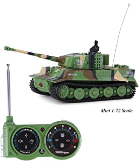 Tank Model Kit, Giveme5 German Tiger I Panzer Tank Diecast with Remote Control, Battery, Light, Sound, Rotating Turret and Recoil Action When Cannon Artillery Shoots, Mini 1:72 Scale, Dark green
