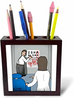 5-Inch 3dRose ph/_5277/_1 Eye Chart Word Search Visit to The Eye Doctor Tile Pen Holder