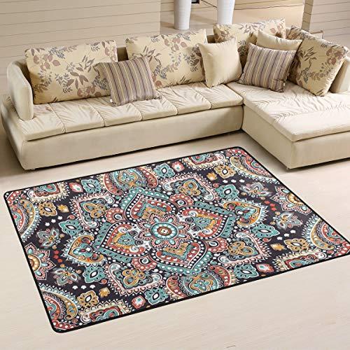 Jsteel Teppich, waschbar, weich, indisches Blumenmuster, Paisleymuster, 90 x 60 cm, multi, 90 x 60 cm