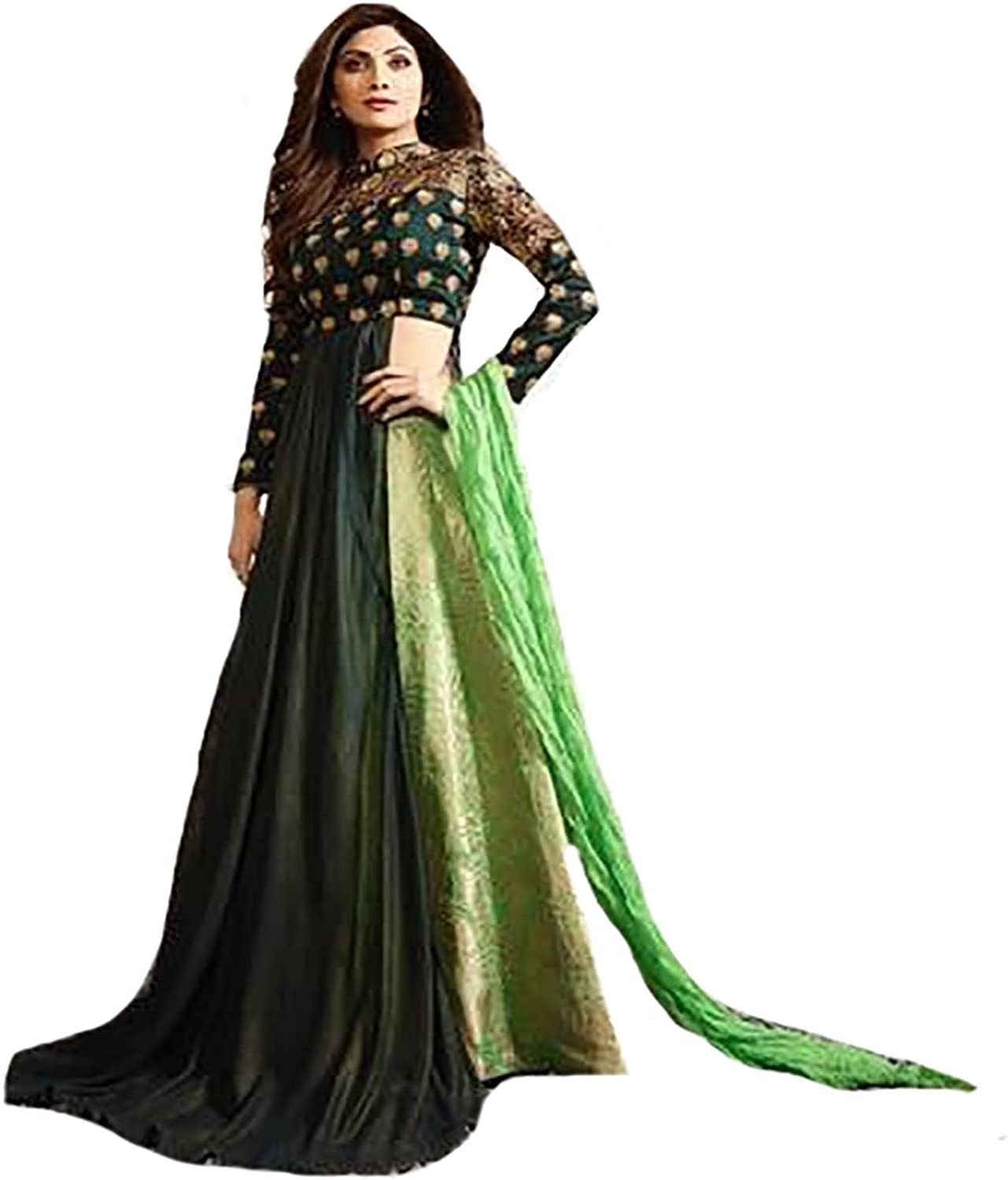Dark Green New Launched Eid Hijab Kaftan Collection Indian Gown Anarkali Shalwar Suit Ceremony Muslim 8812
