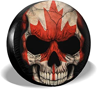 Love Taste Canadian Flag Skull Maple Spare Tire Cover Polyester Waterproof Dust-Proof Universal Spare Wheel Tire Cover Fit for Jeep,Trailer, RV, SUV and Many Vehicle DIY