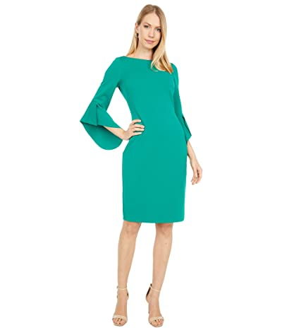 Vince Camuto Textured Crepe Bodycon with Novelty Sleeve (Emerald) Women