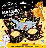 Masque à gratter Disney animaux : Les ateliers. Contient : 1 livret, 6 masques, 6 élastiques, 1 stylet