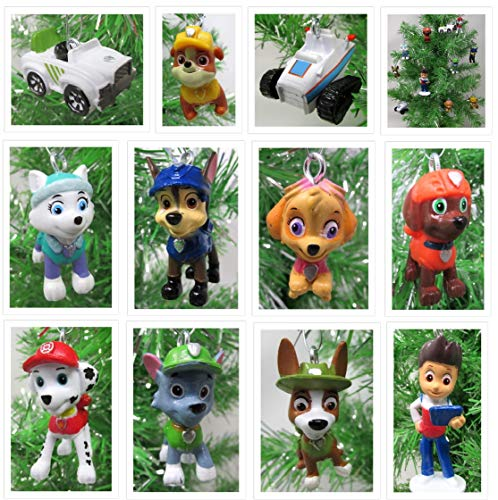 Christmas Ornament Ryder, Chase, Tracker and Friends Mini Random Set with Beloved Pup Crime Fighting Characters - Unique Shatterproof Plastic Design