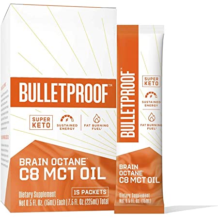 Brain Octane Premium C8 MCT Oil Single Serve Packets from Non-GMO Coconuts, Flavorless, 14g MCTs, Bulletproof Keto Supplement, Sustained Energy, Appetite Control, Physical Energy, Non-GMO, Vegan