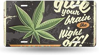 Anwei Marihuana Schild auf altrostendem Schild, 152,4 cm, Metall, für Zuhause, Bad und Bar, Wanddekoration, Auto Kennzeichen, Souvenir, Auto Dekoration