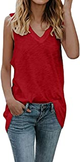 Hyling Womens Tank Tops Summer Sleeveless V Neck Black Casual Long Tank Tops