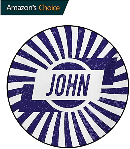 RUGSMAT John Small Round Rug Carpet Common Masculine Given Name Design On Wavy Stripes With A Weathered Look Door Mat Indoors Bathroom Mats Non Slip Diameter 24 Inch Navy Blue And White