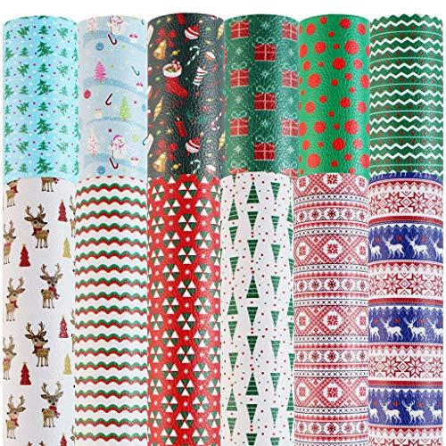 MIKI-Z 12 arcos para el pelo con diseño de hojas de piel sintética y temática navideña