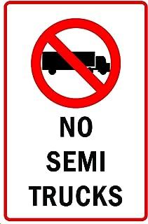 Lilyanaen New Metal Sign Aluminum Sign No Semi Trucks with Symbol Allowed for Outdoor & Indoor 12